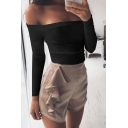 Sexy Plain Off the Shoulder Long Sleeve Cropped Blouse