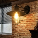 Vintage Shaded Wall Lighting 1 Bulb Glass Wall Mounted Lamp in Black for Restaurant