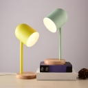 Metal Cloche Shaped Table Light Macaron 1-Light Night Lamp with Wood Base for Bedroom