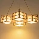Rhombus Cage Wooden Pendant Light Modern 5-Bulb Multi Light Chandelier with Inner White Glass Shade