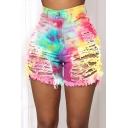 Womens Shorts Trendy Tie Dye Camo Ripped Hole Fringe Hem Slim Fit Hem High Waist Denim Shorts