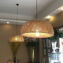Bamboo Dome Ceiling Pendant Lamp Asian 1 Head Wood Suspension Light with White Glass Shade for Hallway