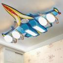 Aircraft Wood Flush Light Contemporary Blue LED Flush Ceiling Light with Handblown Glass Shade