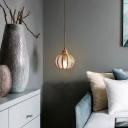 Brass Spherical Pendant Lighting Simplicity Carved Glass 1 Bulb Living Room Suspension Light