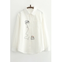 Embroidery Cartoon Mouse Bee Pattern Lapel Long Sleeve Shirt