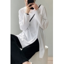 Leisure Girls Tee Top Plain Long Sleeve Round Neck Slit Side Relaxed Fit Tee Top