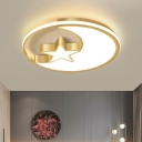 Crescent and Star Nursery LED Ceiling Fixture Acrylic Cartoon Style Flush Mount Light in Gold