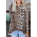 Casual T Shirt Long Sleeve Crew Neck Leopard Printed Loose Fit T Shirt in Brown