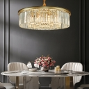 Crystal Rod Circular Chandelier Pendant Light Simplicity Gold Finish Hanging Light Fixture for Dining Room