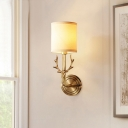 Wall Lighting Ideas Rustic Cylindrical Fabric Wall Mount Light with Antler Decoration