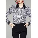 Work Womens Shirt Allover Floral Print Long Sleeve Spread Collar Regular Fit Shirt in Black