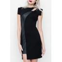 Womens Elegant Dress Short Sleeve Asymmetric Neck Patchwork Short Sheath Dress in Black