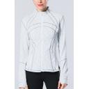 Leisure Women's Training Jacket Contrast Stitching Zip Fly Long Sleeve Regular Fitted Training Jacket