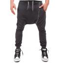Guys Trendy PU Patched Multi-Zip Embellished Drawstring Waist Cotton Baggy Pants Harem Pants