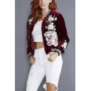 Fashion Stand-Up Collar Embroidery Floral Tiger Pattern Baseball Jacket