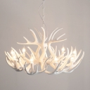 Resin Ceiling Chandelier Country Style White Antler Bedroom Ceiling Suspension Lamp