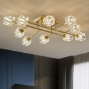 Branch Semi Mount Lighting Postmodern Crystal Block Living Room Ceiling Flush Light in Gold
