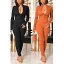 Stylish Womens Jumpsuit Solid Color Glove Sleeve Stand Collar Zip Up Skinny Jumpsuit