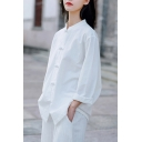 Chinese Style Womens Shirt Long Sleeve Mandarin Collar Frog Button Solid Loose Fit Shirt