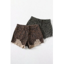 Summer Womens Shorts Leopard Patterned Mid Waist Distressed Fitted Deninm Shorts