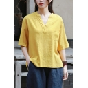 Fancy Tee Top Solid Color Linen and Cotton 3/4 Sleeve V-neck Loose Fit T Shirt for Ladies