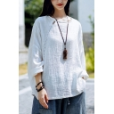 Basic Womens T Shirt Linen and Cotton Plain Long Sleeve Round Neck Cut Out Relaxed Fit Tee Top