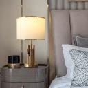 Fabric Drum Table Lighting Minimalism 1-Light Living Room Nightstand Lamp in Brass