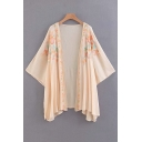 Floral Embroidered Collarless Long Sleeve Tunic Kimono