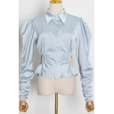 Popular Womens Shirt Solid Color Puff Long Sleeve Point Collar Button Up Slim Fit Shirt Top