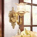 Gold Finish 1-Bulb Wall Light Fixture Antique Clear Glass Bud Shaped Sconce Lamp with Crystal Drop