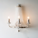 Traditional Candlestick Wall Mount Light Iron Wall Light Fixture with Crystal Bead in White