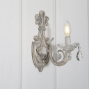 Candlestick Crystal Wall Light Fixture Vintage Corridor Wall Mounted Lamp in Distressed White