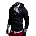 Button Front Long Sleeve Slim Leisure Hoodie