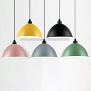 Metal Dome Hanging Light Fixture Macaron 1 Bulb Dining Room Pendant Lamp with Rolled Edge