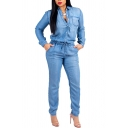 Novelty Womens Jumpsuit Denim Drawstring Waist Single Breasted Long Sleeve Turn down Collar Slim Fitted Pencil Jumpsuit