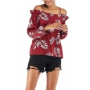 Stylish Womens Blouse Allover Leaf Printed Long Sleeve Cold Shoulder Relaxed Fit Blouse Top