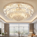 Floral Clear Crystal Flush Ceiling Light Contemporary 7-Head Flush Mount Light for Living Room
