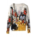 Trendy Womens Cardigan Abstract Cartoon Printed Long Sleeve Button Up Slim Fit Knit Cardigan in Yellow