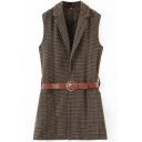 Formal Womens Vest Plaid Print Sleeveless Notched Collar Belted Waist Regular Vest in Brown