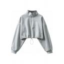 Chic Womens Sweatshirt Solid Color Long Sleeve Stand Collar Zip Up Drawstring Hem Relaxed Crop Sweatshirt