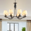 Black Circular Ceiling Pendant Country Metal Living Room Chandelier with Cone Lampshade