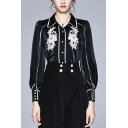 Formal Ladies Shirt Floral Embroidery Long Sleeve Spread Collar Button Up Relaxed Shirt in Black
