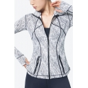Unique Women's Jacket Contrast Stitching Marble Print Zip Closure Long Sleeve Hooded Jacket