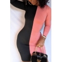 Classic Ladies Dress Colorblocked Long Sleeve Crew Neck Mini Tight Dress in Black