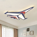 Cartoon LED Led Flush Mount Ceiling Fixture Blue Plane Flushmount Light with Acrylic Shade