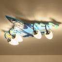 Plane Ceiling Mount Light Fixture Kids Wooden 4-Head Blue Flushmount Light for Nursery