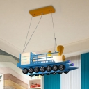 Cartoon Train LED Ceiling Pendant Light Frosted Glass Kids Bedroom Chandelier in Blue