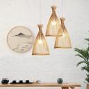 Minimalist Bell Shade Suspension Lighting Bamboo 1 Head Tea Room Pendant Ceiling Light