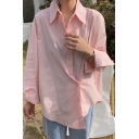 Fashionable Women's Shirt Blouse Solid Color Button Closure Point Collar Long Sleeve Regular Fitted Shirt Blouse