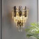 Smoky Crystal Tiered Tapered Sconce Lamp Postmodern 2-Light Brass Plated Wall Mount Light